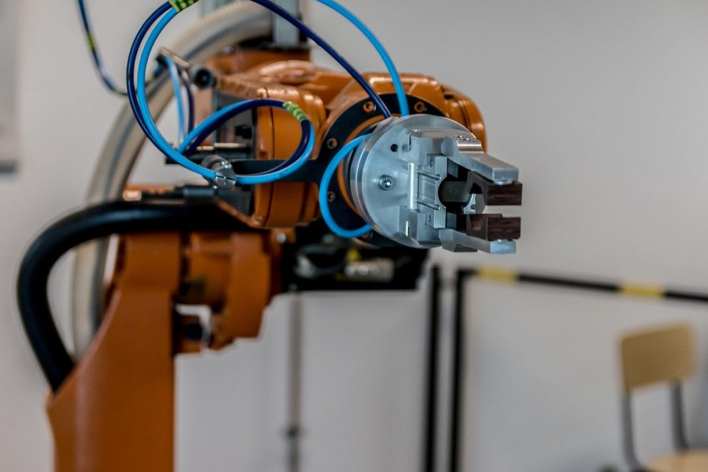Close up of a collaborative robot, or cobot.  The future of cobots is skyrocketing.